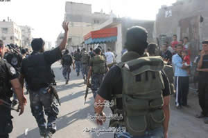 Hamas police entering the Al-Sabra section of Gaza City