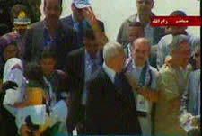 Released prisoners attending the ceremony in Ramallah