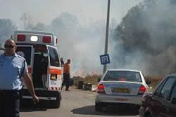 Rescue forces on their way to the scene in Sderot