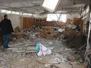 The damage done to the YMCA library