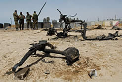Remains of the car bomb