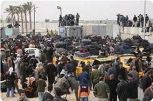 Crowds of Gazans breaking through the Rafah Crossing