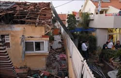 A house in Sderot hit by a rocket