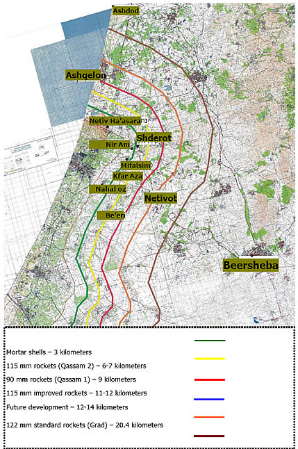 Israeli settlements within range of rocket fire
