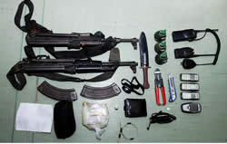 Weapons found in the possession of terrorist operatives
