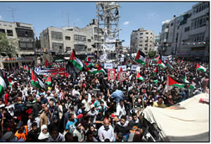 The Nakba Day rally in Ramallah (Wafa News Agency, May 15, 2012).