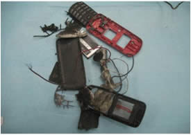 The remains of cell phones used to detonate the IEDs near Yattah (Photo courtesy of the Israel Security Agency).