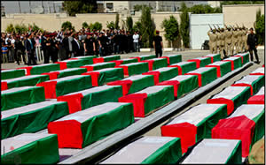 Coffins of the terrorists on display at the Muqataa in Ramallah (Wafa News Agency, May 31, 2012).