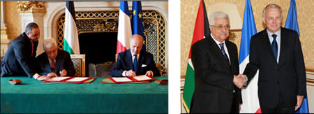 Left: Mahmoud Abbas and the French prime minister. Right: Mahmoud Abbas and the French foreign minister (Wafa News Agency, June 8, 2012).
