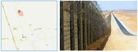 Right: The security fence being constructed along the Israeli-Egyptian border. Left: The site of the attack (IDF Spokesman, June 18, 2012).