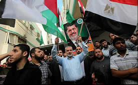 Ismail Haniya celebrates the election of Mohamed Morsi as president of Egypt (Hamas' palestine-info website, June 25, 2012).