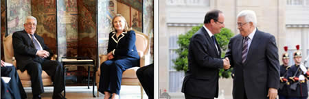 Left: Mahmoud Abbas meets with American Secretary of State Hillary Clinton. Right: Mahmoud Abbas with French President François Hollande (Wafa News Agency, July 6, 2012)