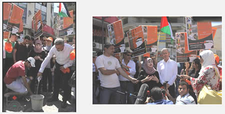 The Bader campaign to boycott Israeli products: At the left, campaign organizers pour Israeli milk into a pail (Wafa News Agency, July 15, 2012).
