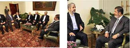 Khaled Mashaal and the Hamas delegation meet with new Egyptian president Mohamed Morsi (Pictures from the Hamasinfo.net website, July 10, 2012).