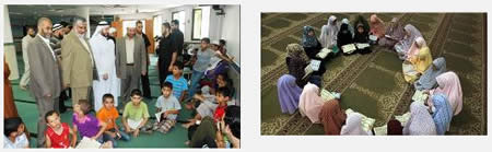 Left: Senior Hamas figures, among them Fathi Hamad (fourth from left), minister of the interior in the de-facto Hamas administration, visit a camp for Qur'an memorization (Safa News Agency, June, 2012). Right: Girls in a summer camp memorize the Qur'an (Picture from the paltimes.net website, June 12, 2012).