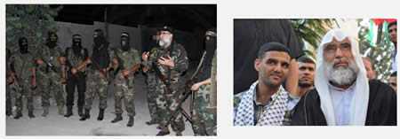 Left: Abdallah al-Shami in ordinary dress (Picture from the jgaza.ps website, July 16, 2012). Right: Abdallah al-Shami wearing a uniform with a Kalashnikov assault rifle slung around his neck during a visit to PIJ terrorist operatives (Picture from the saraya.ps website, July 25, 2012).