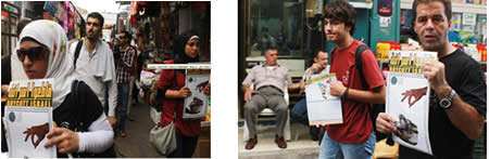 Activists in Nablus in the markets call for Israeli goods to be boycotted (Pictures from the Safa News Agency website, July 26, 2012).
