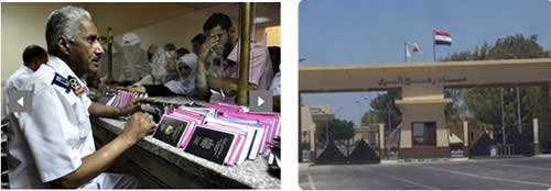 Right: The Rafah crossing, empty and inactive (Picture from Hamas' palestine-info website, August 13, 2012). Left: An Egyptian customs clerk examines the passports of Palestinians at the Rafah