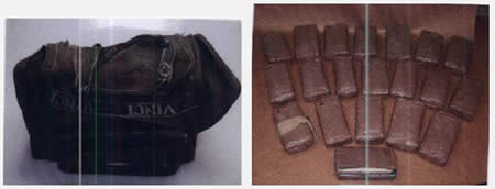 Left: The bag used to carry the explosives, delivered to a courier in Ghajar by Lebanese drug dealers. Right: The 20 kilos of C-4 seized (Picture from Israel Security Agency website, August 2012).