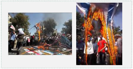 The traditional burning of Israeli and American flags on World Jerusalem Day in Tehran (Pictures from the Mehr News Agency, Iran).