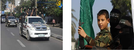 Left: A Palestinian child participates in a Hamas military display in the Gaza Strip (Hamas forum, October 18, 2012). Right: Izz al-Din al-Qassam Brigades operatives deploy throughout the Gaza Strip as part of the events marking the release of the Palestinian terrorists in the Gilad Shalit deal (Qudsnet and Shihab websites, October 18, 2012).