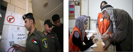Left: Members of the Palestinian security forces vote on October 18. Right: A Palestinian votes in Ramallah (Wafa News Agency, October 20, 2012).