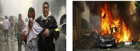 Pictures from the scene of the car-bomb explosion in Beirut (Filastin al-'Aan, October 20, 2012).