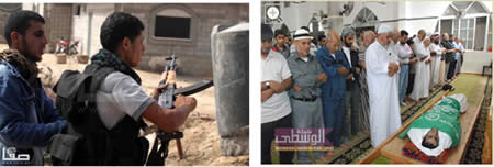 Left: Al-Nabahin wearing a body-armor vest and armed with a rifle (Hamas forum website, November 5, 2012). Right: The body of Ahmed al-Nabahin, wrapped in a green Hamas flag at the Al-Bureij mosque (Shabakat Al-Wusta TV, Gaza Strip, November 5, 2012).