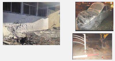 Left: Rocket damage to a school in the southern town of Ofaqim. Right: Rocket fire damage in Beersheba (Israel Police Force Facebook page, November 14, 2012).