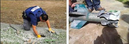 Left: Police demolitions expert removes the remains of a rocket (Israel Police Force Facebook page, November 17, 2012). Right: The remains of a rocket (Sderot Media Center, November 17, 2012).