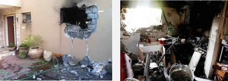 Left: A house in a western Negev village takes a direct hit (Sderot Media Center, November 17, 2012). Right: A house in the western Negev takes a direct hit (Photo by Edi Israel, courtesy of NRG, November 17, 2012).