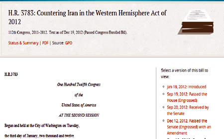 The bill to counter Iranian influence in the Western Hemisphere (www.govtrack.us website)