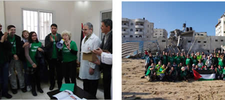 Right: The delegation visits the Gaza Strip. Left: The delegation at the Al-Shifaa hospital in Gaza City (Bienvenuepalestine.com website, December 28, 2012).