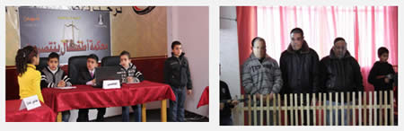 "The mock trial held in Gaza Strip under the auspices of the Hamas administration's ministry of youth and sport. Left: The three ""accused."" Right: The ''judges'' (Alresala.net website, January 17, 2013)."