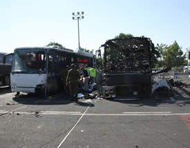 The burned-out shell of the Israeli tourist bus at the Burgas airport (Photo courtesy of the ZAKA spokesman, July 19, 2012)