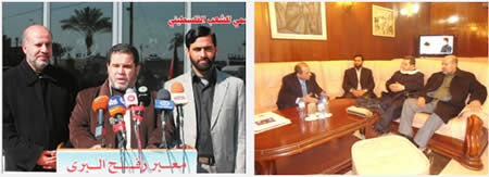 Left: Members of the Hamas delegation in Bulgaria (left to right): Musheir al-Masri, Salah al-Bardawil, Ismail al-Ashqar (Shihab website, February 13, 2013). Right: The delegation holds a press conference at the Rafah terminal on their return to the Gaza Strip  (Hamas' Felesteen, February 17, 2013).
