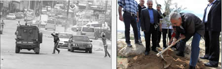 Palestinians youths throw stones at an Israeli Border Police jeep at the Qalandia checkpoint. Right: Palestinian Prime Minister Salam Fayyad plants an olive tree at Bab al-Shams to mark the 37th land day (Wafa News Agency, March 30, 2013).