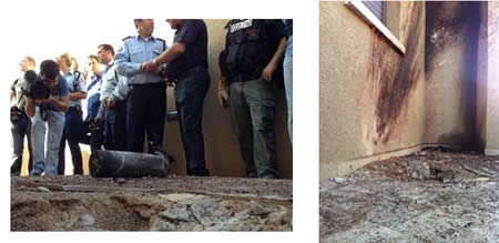 Left: Direct rocket hit in the yard of a house in the Israeli southern city of Sderot (Sderot Media Center, March 21, 2013). Right: One of the two rockets that landed in Sderot (Photo by Edi Israel, courtesy of NRG, March 21, 2013).