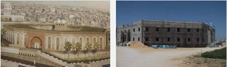 Left: An illustration of the planned hospital. Right: The hospital under construction (Filastin Al-'Aan, April 14, 2013).