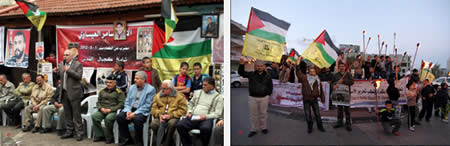 Left: A rally in Qalqiliya marking Palestinian Prisoner Day (Wafa News Agency, April 17, 2013). Right: Torches are lit in Bethlehem to show solidarity with Palestinian terrorists imprisoned in Israel (Wafa News Agency, April 22, 2013).