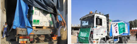 Left: Medical aid from Saudi Arabia enters the Gaza Strip through the Rafah crossing (Shihab website, April 29, 2013). Right: The contents of one of the trucks (Website of the Hamas administration ministry of health, April 29, 2013)