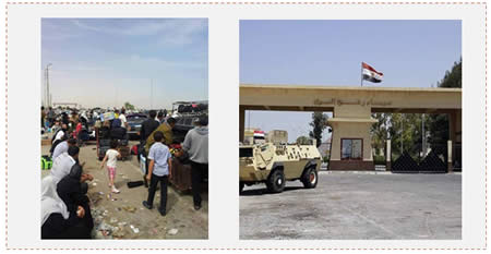Left: Gazans wait on the Egyptian side of the Rafah crossing. Right: An Egyptian APC blocks access to the Rafah crossing (Facebook page of the ministry of the interior of the de-facto Hamas administration, May 20, 2013).