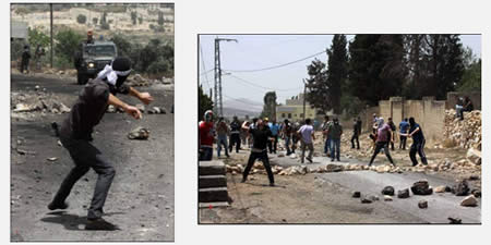 Palestinian youths throw stones at Israeli security forces during the weekly riot in the village of Qadoum (Wafa News Agency, May 31, 2013).