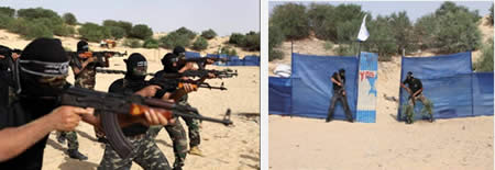 Left: Target practice. Right: Uniformed PRC terrorist operatives simulate an assault  on an IDF base.