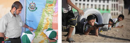 "Left: One of the camp counselors explains the map of ""Palestine,"" on which the State of Israel does not exist (Filastin Al-'Aan, June 8, 2013). Right: Semi-military training is given to children at a Hamas camp in the Gaza Strip (Palinfo website, June 10, 2013)."