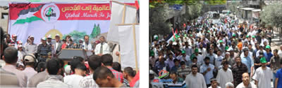 Left: The march from the Jabaliya refugee camp to Beit Hanoun (Filastin Al-'Aan, June 7, 2013). Right: The rally in Beit Hanoun (Hamas forum website, June 7, 2013).