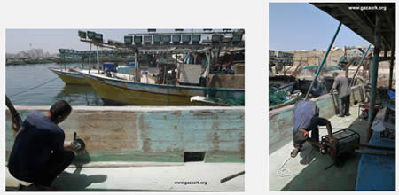 Turning the fishing boat into a cargo boat (Gaza Ark website, June 10, 2013).