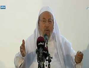 Yusuf al-Qaradawi, the most prominent religious authority in Sunni Islam, lashed out against Iran and Hezbollah and called on Muslims to support the rebels in Syria.