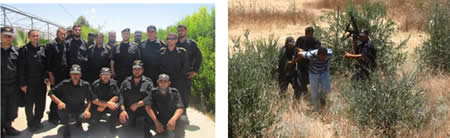 Left: Exercise carried out by Hamas' restraint force simulates infiltrating from the Gaza Strip into Israel. Right: Group photo of the Hamas operatives and the members of the ministry of the interior delegation (Website of the Hamas ministry of the interior, June 17, 2013).
