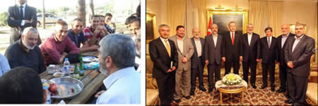 Left: The Hamas delegation meets with the Turkish prime minister and foreign minister (Palinfo website, June 19, 2013). Right: Khaled Mashaal and Ismail Haniya meet with terrorist operatives released in the Gilad Shalit prisoner exchange deal and deported to Turkey (Filastin Al-'Aan, June 22, 2013)